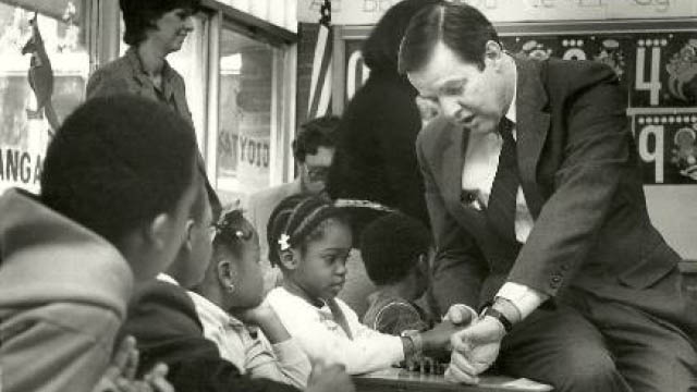 Governor Tom Kean with young students