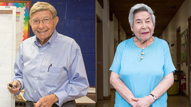 Older man and woman in school buildings